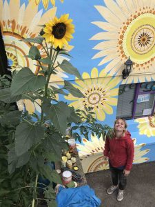 Faye Suzannah stands with her newly completed Sunflower Mural scaled