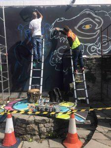 Jon Sikoh and Soap Monster start the Mural in the King Arthur Garden scaled