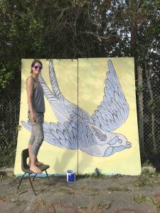 Kim Krumble painting her piece for the Styles of Somerset event at Glastonbur Skatepark scaled