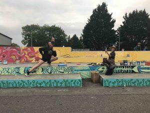 Oksana an Natasha enjoying some pre launch paint time at the skatepark scaled