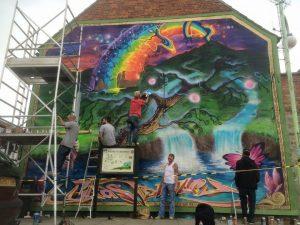 Painting the Glastonbury Mural
