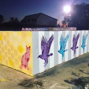 Stencils at skatepark for Mural Trail Launch by Kim Krumble scaled