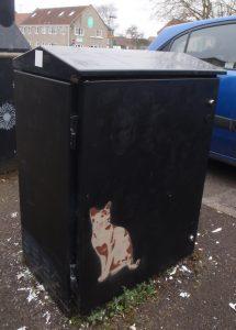 cat stencil on box by Kim Krumble