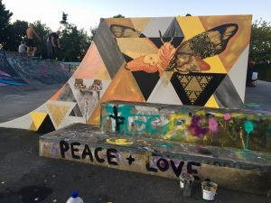 moth at skate park mural taril launch by Tonia