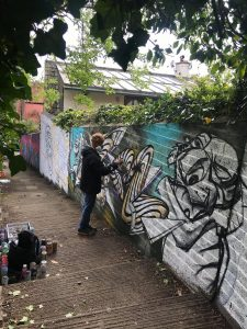 sikoh painting on jacobs ladder work in progress